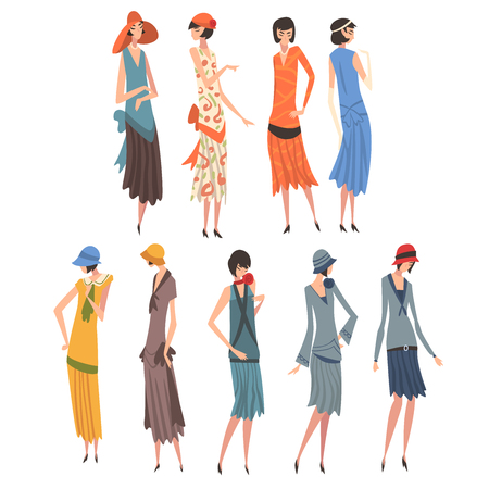 Elegant Woman in Retro Dresses Set, Beautiful Girls of 1920s, Art Deco Style Vector Illustration on White Background. 일러스트