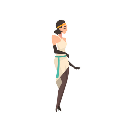 Elegant Woman in White Retro Dress, Beautiful Brunette Flapper Girl of 1920s, Art Deco Style Vector Illustration on White Background. Иллюстрация