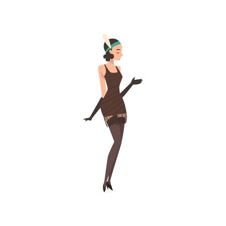 Elegant Woman in Retro Dress and Gloves, Beautiful Brunette Flapper Girl of 1920s, Art Deco Style Vector Illustration on White Background. 版權商用圖片 - 128163719