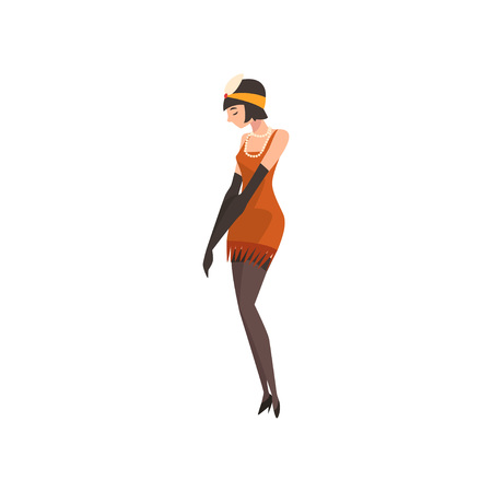 Elegant Woman in Red Retro Dress and Gloves, Beautiful Flapper Girl of 1920s, Art Deco Style Vector Illustration on White Background. Stock Illustratie