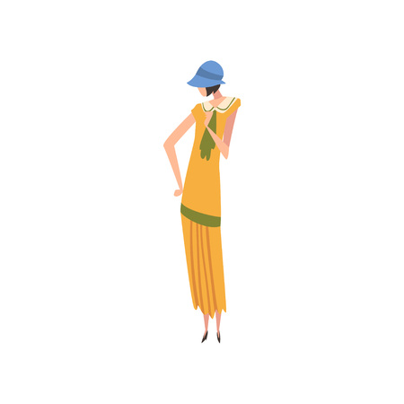 Elegant Woman in Retro Dress and Hat, Beautiful Girl of 1920s, Art Deco Style Vector Illustration on White Background.