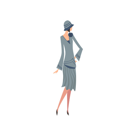 Elegant Woman in Blue Retro Dress and Hat, Beautiful Girl of 1920s, Art Deco Style Vector Illustration on White Background. Иллюстрация