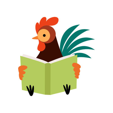 Colorful Rooster Reading Book, Farm Cock Cartoon Character Vector Illustration on White Background.