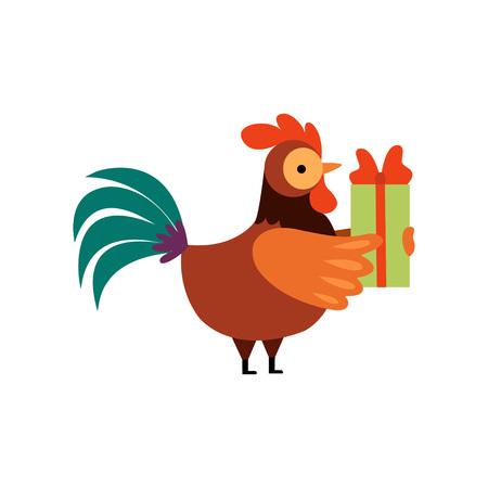 Colorful Rooster with Gift Box, Farm Cock Cartoon Character Vector Illustration on White Background.