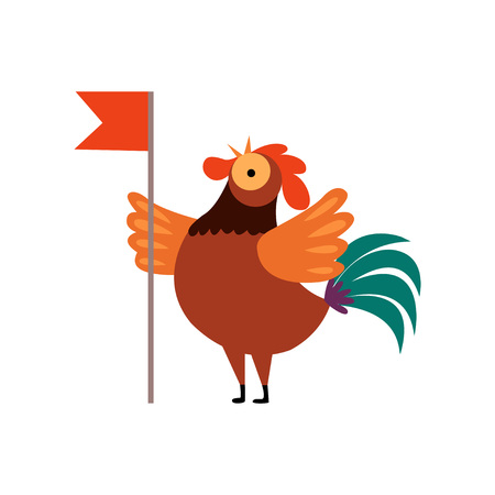 Colorful Rooster Crowing, Farm Cock Cartoon Character with Red Flag Vector Illustration on White Background.