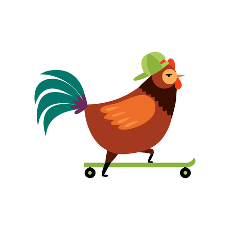 Colorful Rooster Riding on Skateboard, Farm Cock Cartoon Character Vector Illustration on White Background.