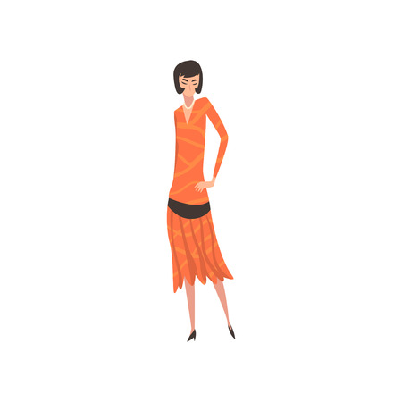 Elegant Woman in Red Retro Dress, Beautiful Girl of 1920s, Art Deco Style Vector Illustration on White Background. Иллюстрация