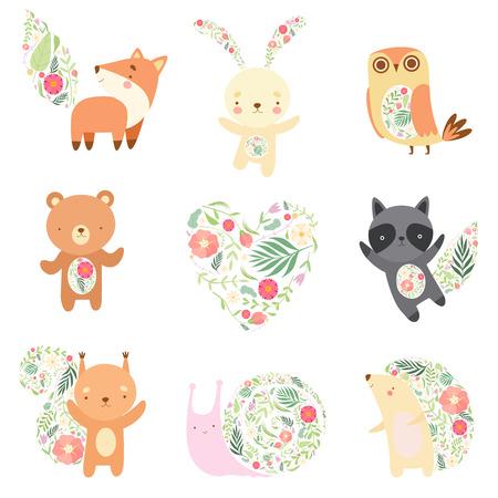 Animales lindos decorados con conjunto de patrones florales sin fisuras, personajes de dibujos animados de animales del bosque encantador ilustración vectorial