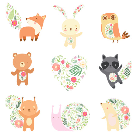Cute Animals Decorated with Floral Seamless Pattern Set, Lovely Forest Animals Cartoon Characters Vector Illustration