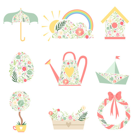 Cute Spring Symbols Decorated with Floral Seamless Pattern Set Vector Illustration on White Background. Illustration