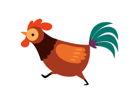 Rooster with Bright Plumage, Farm Cock Running, Poultry Farming Vector Illustration on White Background.