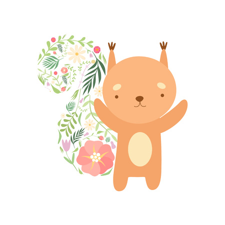 Cute Squirrel with Tail Made of Floral Seamless Pattern, Lovely Animal Cartoon Character Vector Illustration Illustration