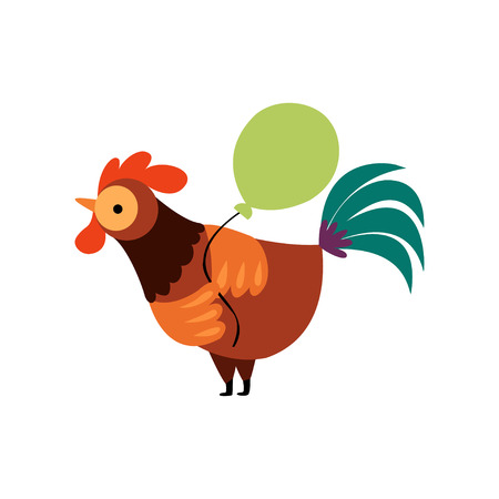 Colorful Rooster with Green Balloon, Farm Cock Cartoon Character Vector Illustration on White Background. Ilustração