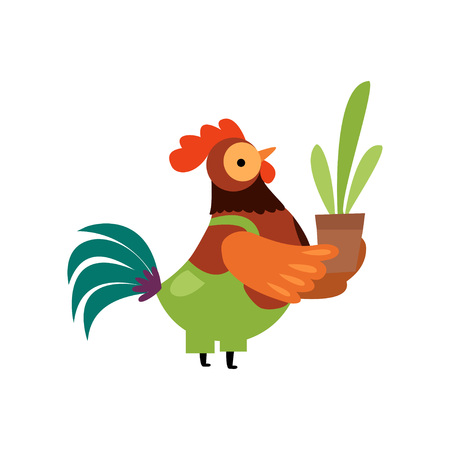 Colorful Rooster Wearing Overalls with Flower Pot, Farm Cock Cartoon Character Vector Illustration on White Background. Illustration
