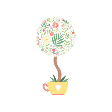 Flowering Bonsai, Crown of Tree Made of Floral Seamless Pattern Vector Illustration on White Background. Иллюстрация