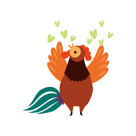 Colorful Rooster Crowing, Farm Cock Cartoon Character Singing Love Song Vector Illustration on White Background. Illustration