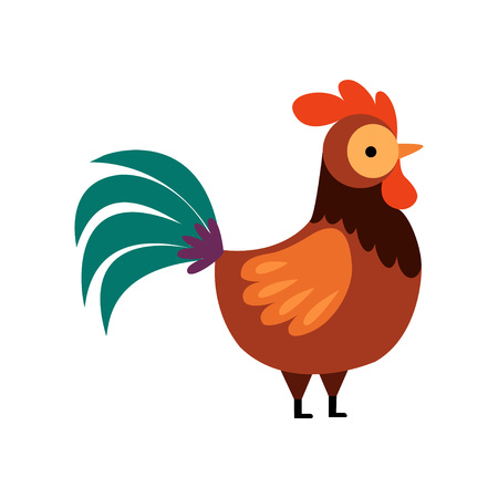 Rooster with Bright Plumage, Farm Cock, Side View, Poultry Farming Vector Illustration on White Background.