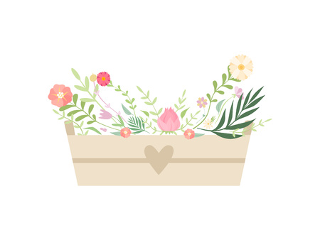 Wooden Box Full of Beautiful Flowers Vector Illustration Illustration