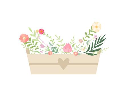 Wooden Box Full of Beautiful Flowers Vector Illustration 向量圖像