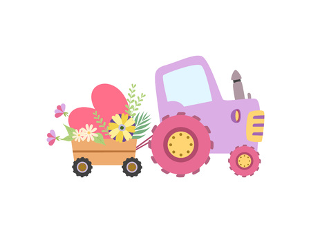 Cute Colorful Tractor with Cart Full of Flowers Vector Illustration on White Background.