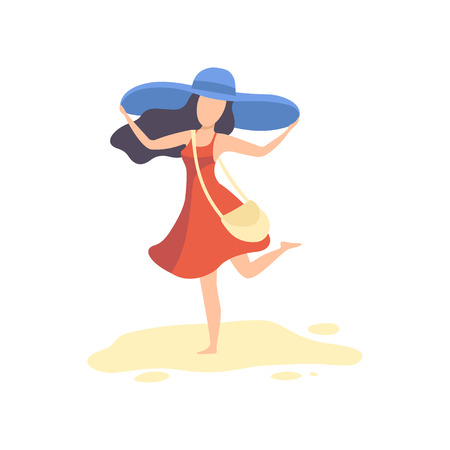 Happy Brinette Girl in Red Dress and Blue Hat Relaxing on Beach on Summer Vacation Vector Illustration on White Background. Archivio Fotografico - 128163756
