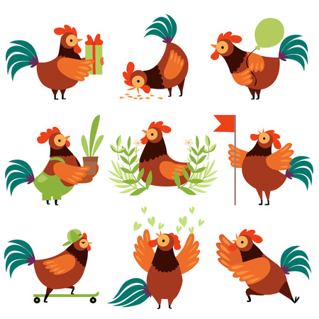 Collection of Colorful Roosters in Different Situations, Farm Cocks Cartoon Characters Vector Illustration on White Background.