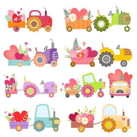 Collection of Cute Tractors with Carts Full of Flowers and Hearts, Colorful Agricultural Farm Transport Vector Illustration on White Background. Illustration