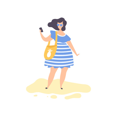 Beautiful Brunette Girl in Blue Dress and Sunglasses Standing Making Selfie Photo on Beach, Young Woman Relaxing on Summer Vacation Vector Illustration on White Background.
