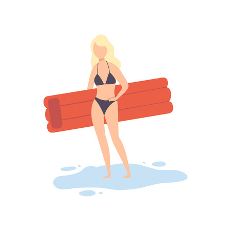 Beautiful Girl in Swimsuit Standing with Air Mattress, Young Woman Relaxing on Beach on Summer Vacation Vector Illustration Ilustrace