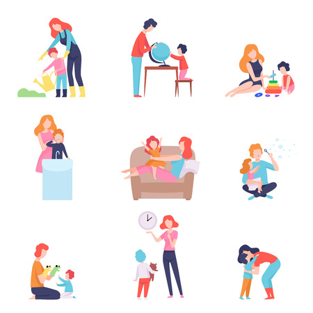 Parents Spending Time with Kids Set, Mother and Father Teaching and Playing with Sons and Daughters Vector Illustration on White Background.