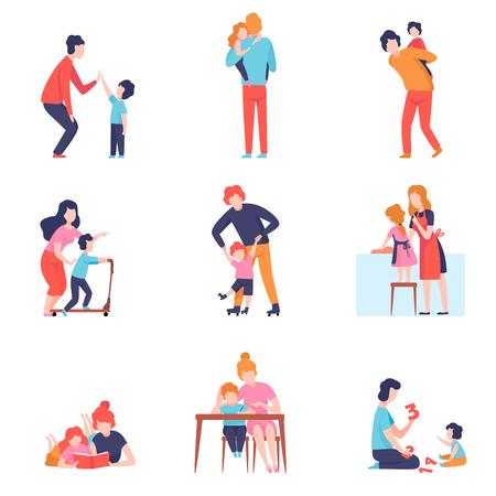 Genitori che si divertono con l'insieme dei bambini, madre e padre che insegnano e giocano con i figli e le figlie illustrazione vettoriale su sfondo bianco.