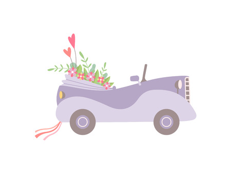 Cute Pink Vintage Convertible Car Decorated with Flowers, Romantic Wedding Retro Auto, Side View Vector Illustration on White Background. Illustration