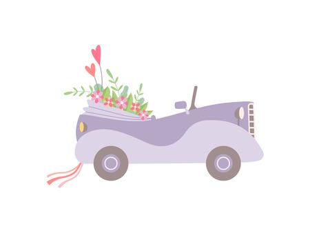 Voiture décapotable vintage rose mignonne décorée de fleurs, mariage romantique Auto rétro, illustration vectorielle de vue latérale sur fond blanc.