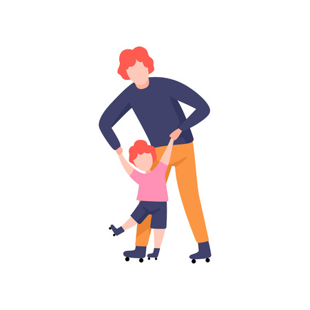 Dad Teaching Daughter to Skate on Rollers, Father Having Good Time with His Kid Vector Illustration on White Background.
