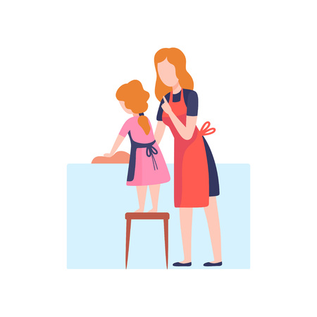 Mother Teaching Daughter to Wash Dishes, Mom and Kid Spending Time Together at Home Vector Illustration on White Background.