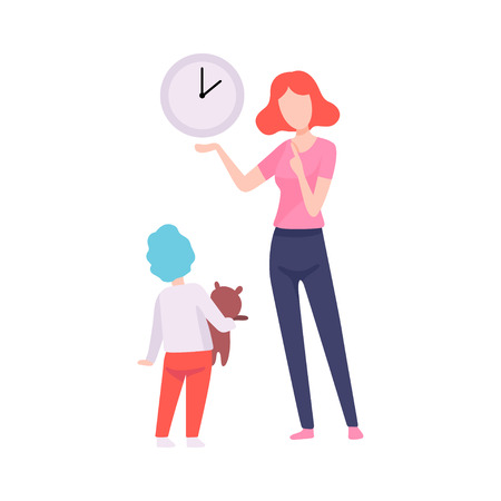 Mother Teaching Son to Read Time, Mom Spending Time with Her Kid Vector Illustration on White Background.