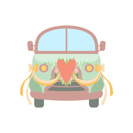 Cute Vintage Car Decorated with Heart, Flowers and Ribbons, Wedding Retro Van, Front View Vector Illustration on White Background.