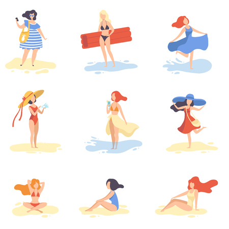 Collection of Beautiful Girls Relaxing on Beach, Young Women on Summer Vacation Vector Illustration on White Background. Иллюстрация