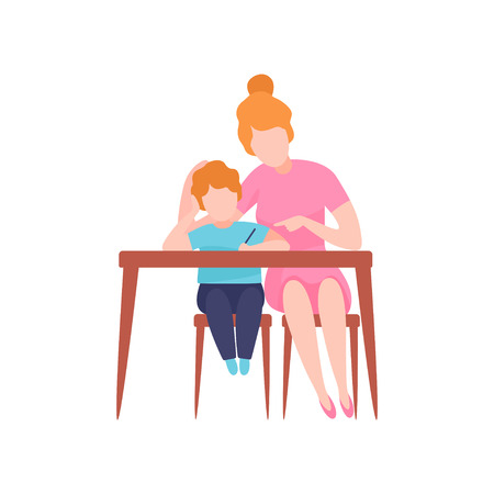 Mom and Son Sitting at Desk, Young Woman Teaching Preschooler Boy to Write Vector Illustration on White Background.