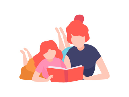 Mother and Daughter Reading Book, Mom and Kid Spending Time Together at Home Vector Illustration on White Background.