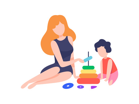 Mother Playing Pyramid Toy with Her Son, Mom and Kid Spending Time Together at Home Vector Illustration on White Background.