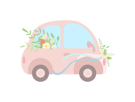 Cute Pink Vintage Car Decorated with Flowers, Romantic Wedding Retro Auto, Side View Vector Illustration on White Background.