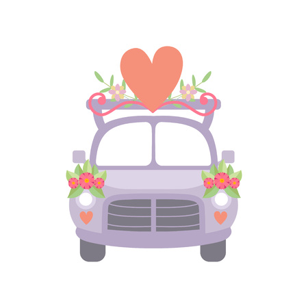 Cute Vintage Car Decorated with Flowers and Red Heart, Romantic Wedding Retro Auto, Front View Vector Illustration on White Background.