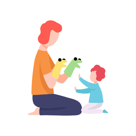 Dad and His Son Having Fun with Puppet Toys, Father Having Good Time with His Kid Vector Illustration on White Background.