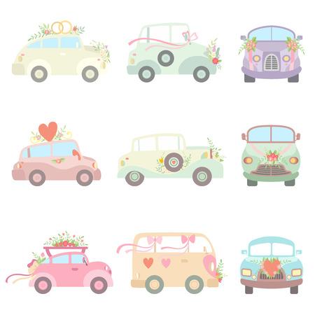Sammlung von niedlichen Oldtimern verziert mit Blumen, Herzen und Bändern, romantische Hochzeits-Retro-Autos, Vorder- und Seitenansicht-Vektor-Illustration auf weißem Hintergrund. Vektorgrafik