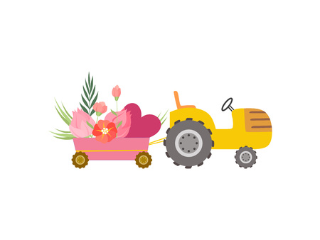 Cute Yellow Tractor with Cart with Hearts and Flowers, Colorful Agricultural Farm Transport Vector Illustration on White Background.