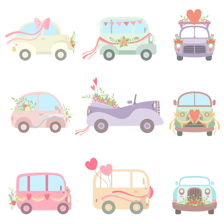 Collection of Cute Vintage Cars and Van Decorated with Flowers, Hearts and Ribbons, Wedding Retro Cars, Front and Side View Vector Illustration