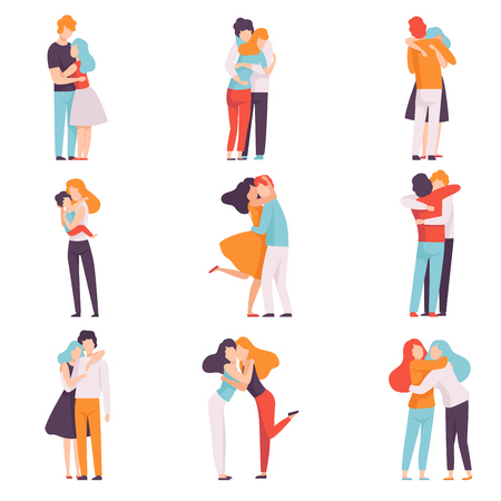 Happy Young Male and Female Embracing Each Other Set, People Celebrating Event, Couples in Love, Best Friends Vector Illustration Ilustrace
