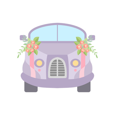 Cute Vintage Car Decorated with Flowers, Romantic Wedding Retro Auto, Front View Vector Illustration on White Background.