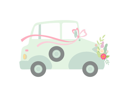 Vintage Car Decorated with Bow and Flowers, Wedding Retro Auto, Side View Vector Illustration on White Background.
